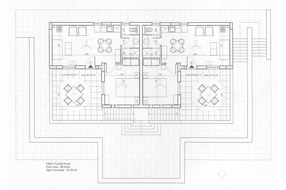Το Σπίτι στο Κεραμωτό - Κάτοψη 1 Ορόφου